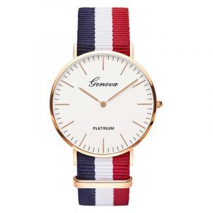 Montre quartz pour mode décontractée avec bracelet de montre en tissu de Nylon multicolore montre-bracelet Simple concepteur femmes hommes montres horloge