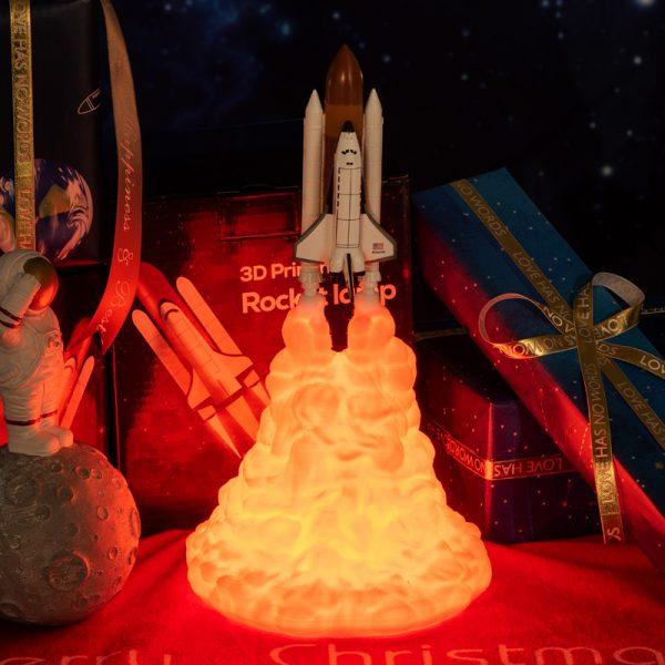 2019 nouvelle livraison directe 3D impression navette spatiale lampe veilleuse pour les ventilateurs de l'espace lune lampe fusée lampe comme décoration de la chambre