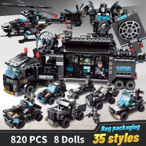 LegoINGlys blocs de construction Robot ville Police jouets blocs garçons véhicule avion éducatif camion blocs Compatible modèle briques