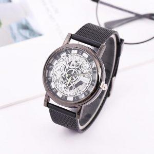 Mode hommes montre à Quartz Imitation montres mécaniques Gel de silice maille ceinture décontracté homme montre-bracelet