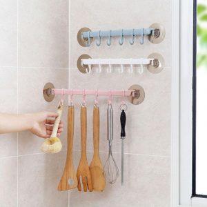Crochets adhésifs forts multi-usages 6 | Cintres d'angle, porte-vêtement de couloir d'entrée murale, porte de chambre, rangée de crochets de penderie