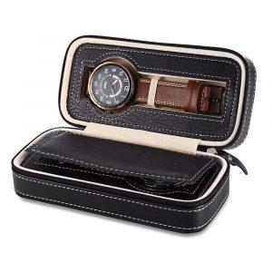 2 grilles en cuir PU voyage montre mallette de rangement fermeture éclair montre-bracelet boîte organisateur