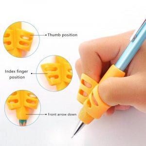 3 pièces outils deux doigts porte-crayons ergonomique Non toxique aide à l'écriture poignée Silicone Grip doux entraînement Posture Correction enfants