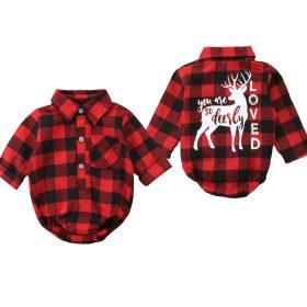 Combinaison de noël pour enfants | Barboteuse pour bébés filles pour garçons, ensemble costume Elk Plaid, vêtements pour garçons
