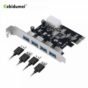 Kebidumei 4 ports USB 3.0 carte d'extension PCI-e PCI express PCIe USB 3.0 adaptateur hub 4 ports USB 3 0 PCI e PCIe express 1x