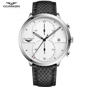 GUANQIN hommes montres horloge hommes marque haut de gamme chronographe de luxe masculin Sport en cuir Quartz montre-bracelet grand cadran Relogio Masculino