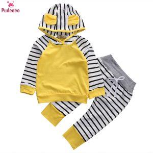 Vêtements pour nouveau-né | Ensemble de vêtements pour bébés garçons et filles, à rayures, sweat-shirt et pantalons longs, tenue 2 pièces, vêtements pour enfants