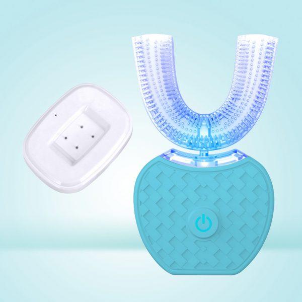 360 degrés Intelligent automatique sonique électrique brosse à dents U Type 4 Modes brosse à dents USB charge dent blanchissant la lumière bleue