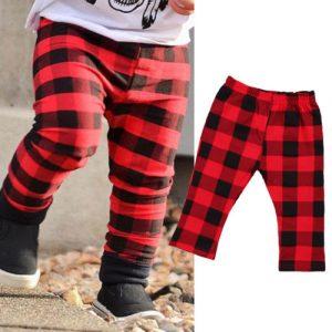 Pantalon taille haute pour bébés filles garçons | Nouveau-né, en coton, rouge, imprimé à carreaux, pantalons longs, vêtements cadeaux pour noël 0-3T