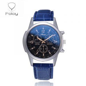 Foloy affaires sport hommes montre qualité mode chiffres Faux cuir analogique Quartz gentleman montres Bracelet horloge cadeau