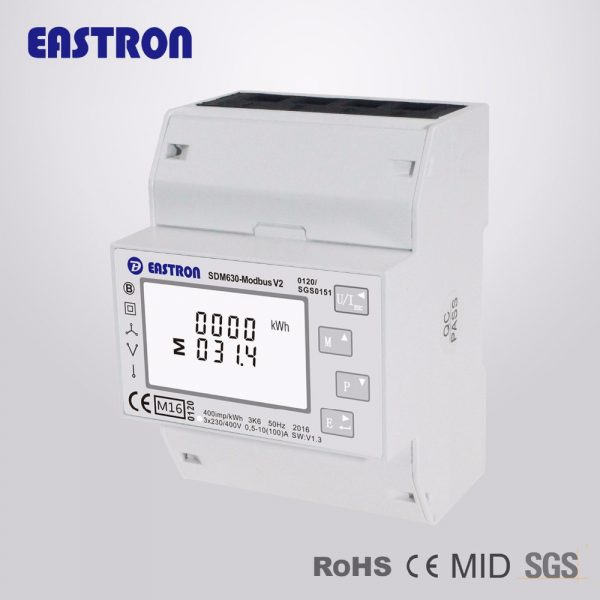 SDM630 Modbus V2, multi-function power analyser, 1p2w 3p3w 3p4w, modbus/pulse output RS485 PV solar system available, NON-MID