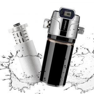 Miniwell-filtre de douche à double filtre | Filtre de couleur noire avec affichage électronique, élimination du métal lourd, avec double filtre à l'intérieur