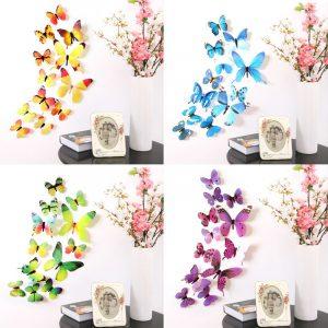 Stickers muraux autocollants papillons | Sur le mur, décorations du nouvel an, papier peint 3D papillon en PVC, pour la salle de séjour, 12 pièces