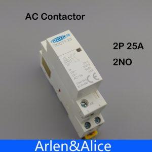 Contacteur modulaire 2NO   TOCT1 2P 25A 220V/230V 50/60HZ Din rail pour ménage ac 1 pièce