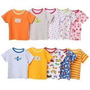 [5 pièces/lot couleur aléatoire] bébé T-Shirt 100% coton dessin animé impression bébé fille hauts été à manches courtes enfant en bas âge garçons T-Shirt vêtements