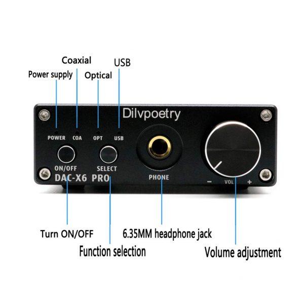 Dilvpoésie X6 Pro DAC décodeur HiFi casque amplificateur décodeur 24Bit/192kHz Coaxial/optique/USB stéréo Audio décodeur prise ue