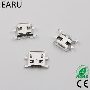 Micro USB 5pin type B connecteur femelle   0.8mm pour téléphone portable, Mini connecteur de prise USB 5 broches, prise de charge à quatre pieds