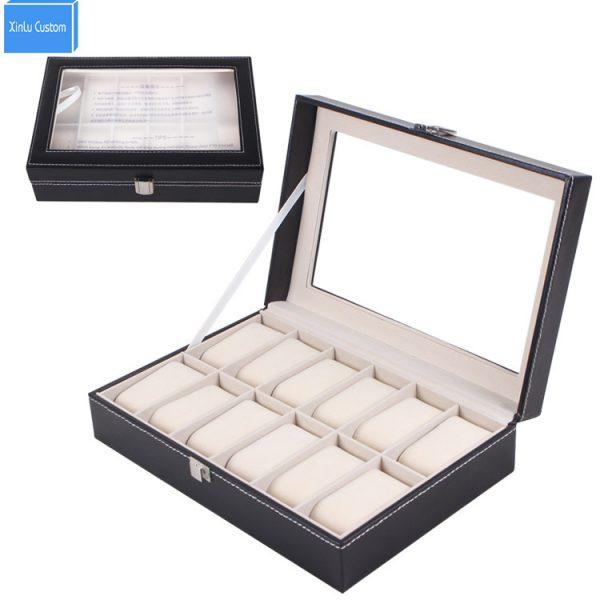 Cuir noir 12 grilles affichage Montre boîte bijoux boîtier organisateur support boîtes Caja de Reloj Rangement Montre