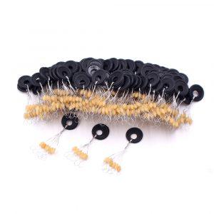 120 pièces 20 groupe jaune ensemble haute qualité en caoutchouc espace haricots pour mer carpe mouche pêche accessoires Spinner appât poisson Sport outil visage