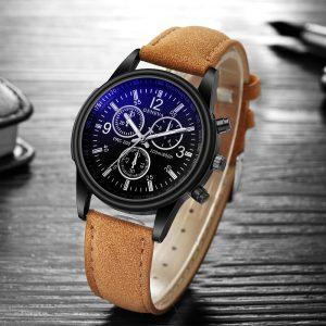 Mode de luxe Faux cuir hommes bleu Ray verre Quartz montres analogiques boîte horloge bracelet de montre bracelet automatique cadeau de noël _ 12.18