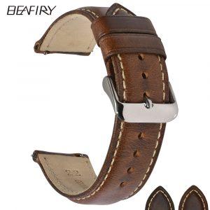BEAFIRY cuir tanné à l'huile 22mm 20mm 18mm bracelet de montre à dégagement rapide bracelet de montre marron pour hommes femmes compatible avec fossile