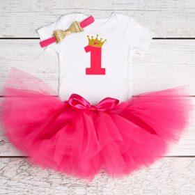 Tenue pour premier anniversaire et bébé | En Tulle, robe Tutu de Communion et de baptême, rose et pelucheux, pour bébé et 1 naissance