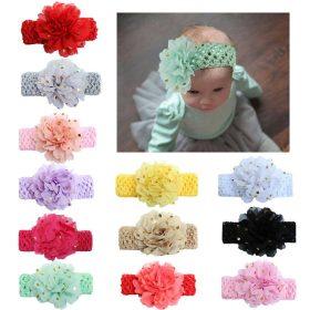 Nouveau paillettes grandes fleurs élasticité large bébé bandeau 12 couleurs cheveux accessoires enfants estampage à chaud en mousseline de soie bandeau