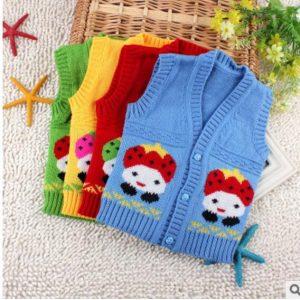 Gilet en laine pour enfants 0-18 mois | En cachemire, cardigan fraise, en tricot de coton, semble très bon, printemps et automne