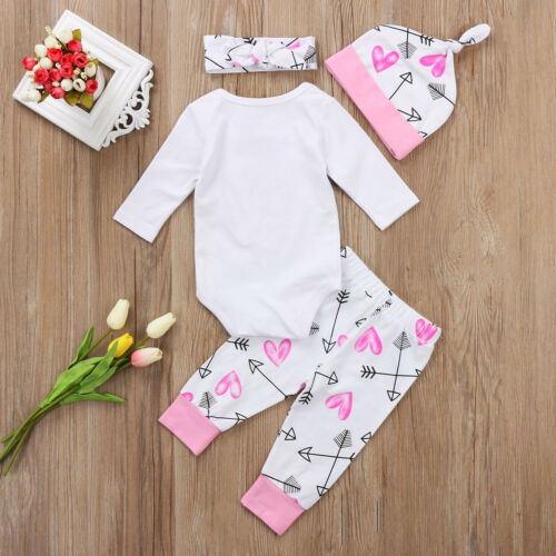Vêtements pour nouveau-né 4 pièces | Mignon et doux, Confortable et doux, pour bébés filles, combinaison pantalon body, nouvelle collection, offre spéciale