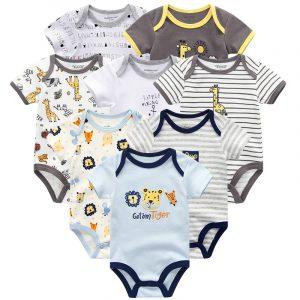Bébé vêtements 8 pièces/lots unisexe nouveau-né garçon et fille barboteuses roupas de bebes coton bébé enfant en bas âge combinaisons à manches courtes bébé vêtements