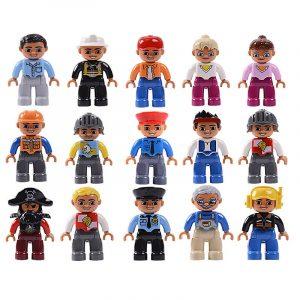 Grande taille figurines ville princesse Pirate policiers famille série blocs de construction compatibles marque Duploes éducation jouets
