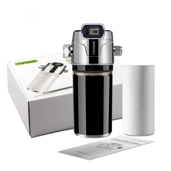 Miniwell-filtre de douche à double filtre   Filtre de couleur noire avec affichage électronique, élimination du métal lourd, avec double filtre à l'intérieur