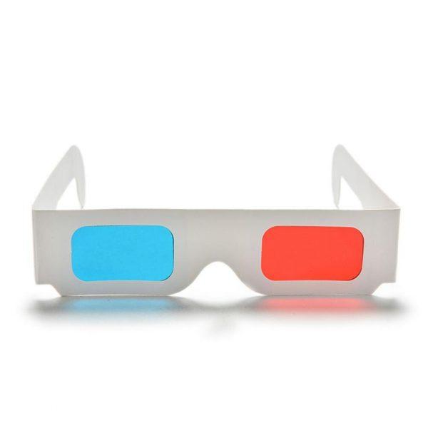Ostart 10 pcs/lot papier universel anaglyphe 3D lunettes papier 3D lunettes vue anaglyphe rouge/bleu verre 3D pour film vidéo EF