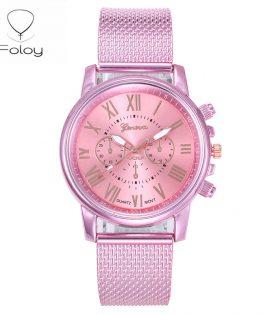 Foloy numérique femmes montres qualité mode genève chiffres romains Faux cuir analogique Quartz dames montre Bracelet horloge cadeau