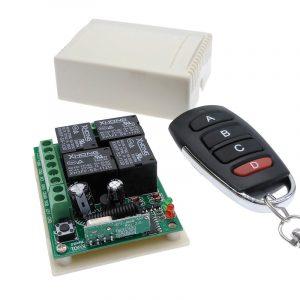Commutateur de télécommande sans fil 12VDC | 4 voies 433MHZ, module de récepteur de relais RF 4NO + 4NC, contrôleur