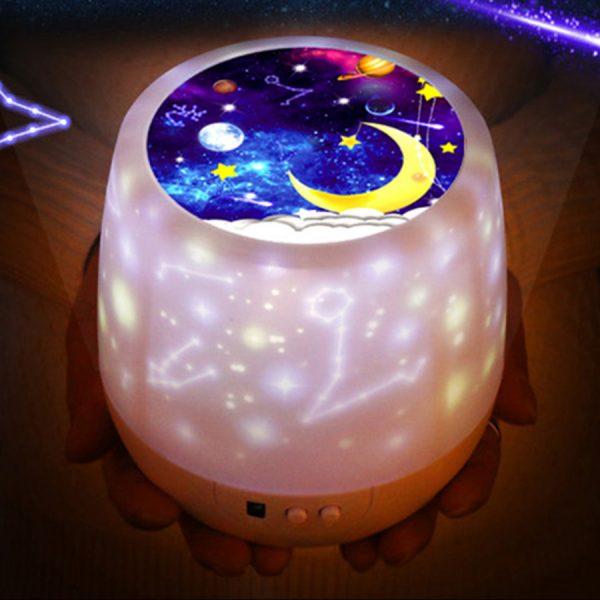 Coloré ciel étoilé projecteur veilleuse Rotation étoilé lune nuit lampe USB charge pour cadeau d'anniversaire romantique bébé enfants