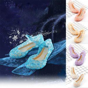 Sandales à la gelée en cristal pour enfants | Chaussures de danse pour fête Cosplay Elsa, princesse des neiges