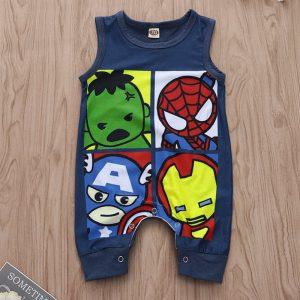 Été nouveau-né bébé sans manches bébé garçons filles fer homme Superman Spiderman vêtements nouveau-né bébé mode impression dessin animé barboteuse