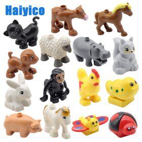 Gros blocs de construction accessoires animaux de ferme zoo Compatible avec Duplos chat cochon chien lapin singe hippopotame mouton enfants jouets cadeau