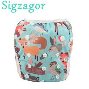 [Sigzagor] 1 grande couche de bain couche-culotte taille unique OS tout en un couche réutilisable bébé fille garçon enfant en bas âge, 18lbs-55lbs,8kg-25kg