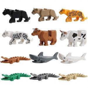 Série animale modèle chiffres gros blocs de construction animaux jouets éducatifs pour enfants enfants cadeau Compatible avec Legoed Duploed