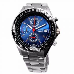 Alexis hommes analogique Quartz natation plongée montre mis5 0S10 chronographe argent mat bracelet en acier inoxydable cadran bleu foncé résistant à l'eau
