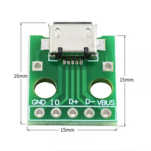 10 pièces MICRO USB à DIP adaptateur 5pin connecteur femelle B Type PCB convertisseur platine de prototypage commutateur carte SMT siège mère