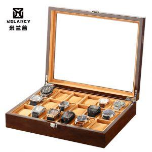 18 fentes montre boîte en bois montre-bracelet hommes boîte de rangement horloge/écrin de montre pratique montre bijoux organisateur