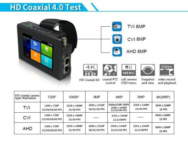 Upgrade IPC-1800 PLUS CCTV IP Camera Tester H.265 4K IP 8MP TVI 8MP CVI 8MP AHD Analog 5-in-1 Wrist CCTV Tester Monitor wifi