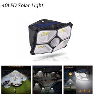 Lumière solaire extérieure lampe murale PIR capteur de mouvement solaire réverbère lumière du soleil imperméable à l'eau économie d'énergie cour chemin maison LED de jardin