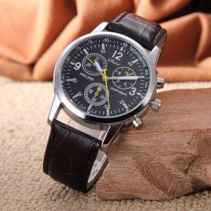 Les hommes de sport d'affaires regardent les chiffres de mode de qualité Faux cuir analogique Quartz gentleman montres Bracelet horloge