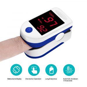 Oxymètre De Pouls Digital avec LED Affichage Numérique à la Maison de Sang D'oxymètre Capteur D'oxygène Saturation SpO2 Moniteur Mesure Mètre