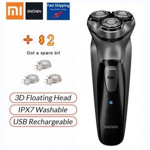 Xiaomi Electric Original face shaver Enchen BlackStone 3D Electric Shaver, Men Washable USB Rechargeable Shaving Beard Machine