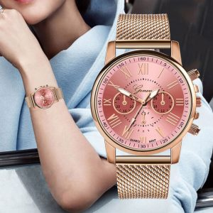 Montres femme luxe Quartz Sport militaire acier inoxydable cadran bracelet en cuir robe de poignet Relogio Feminino genève montre femmes